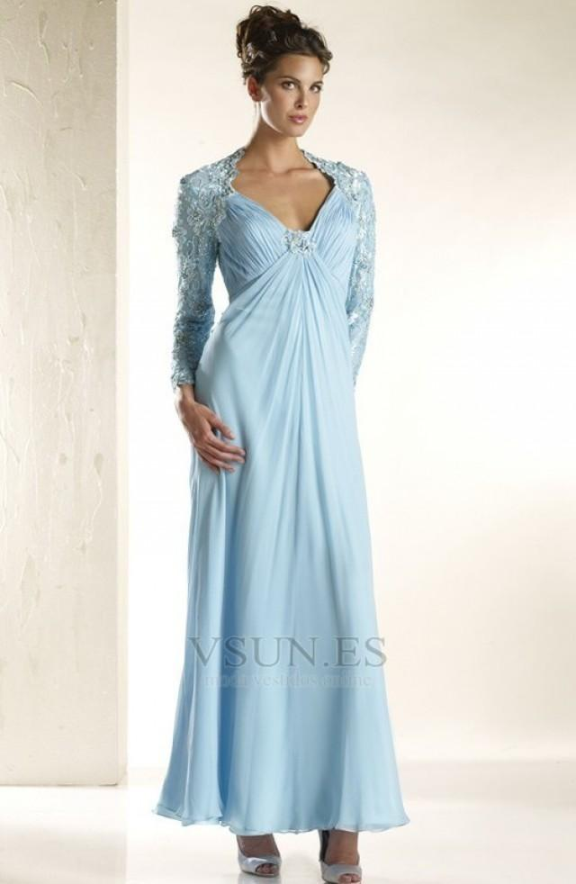 wedding photo - Vestido de noche otoño invierno Encaje Imperio Cremallera Blusa plisada Manga larga