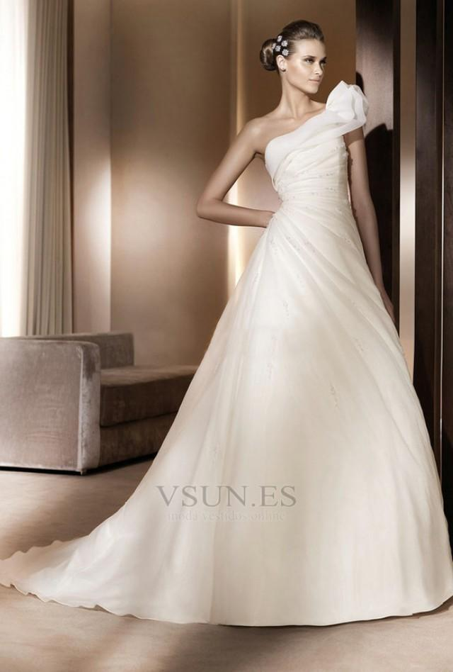 wedding photo - Vestido de novia Pera Glamouroso Blusa plisada Volante Un sólo hombro