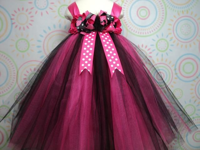 0b16975ad READY TO SHIP For Baby To 2T 3T Toddler Girl Minnie Mouse Hot Pink Black Tutu  Dress   Headband Birthday Cake Smash Pageant Photo Disneyland  2483006 - ...