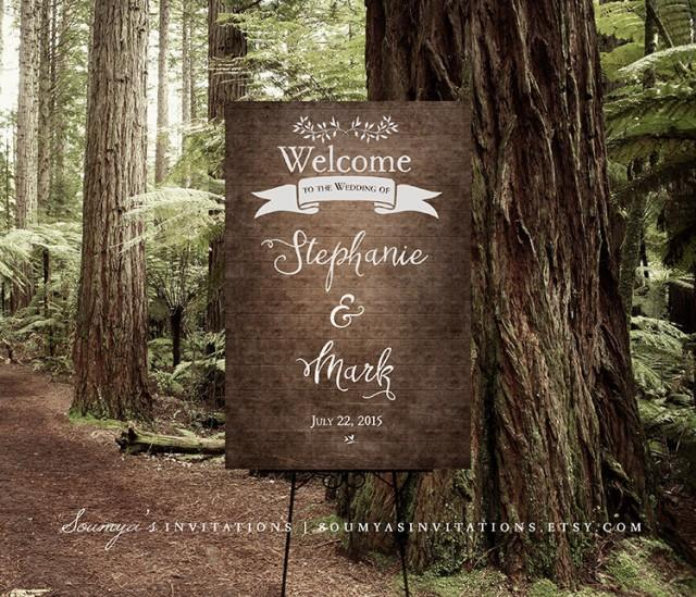 Wedding Welcome Sign, Rustic Woodland Welcome Sign