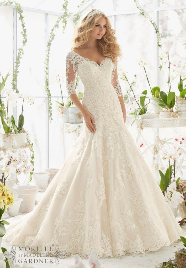 Stunning Illusion Church Mermaid Wedding Dresses 3 4 Long