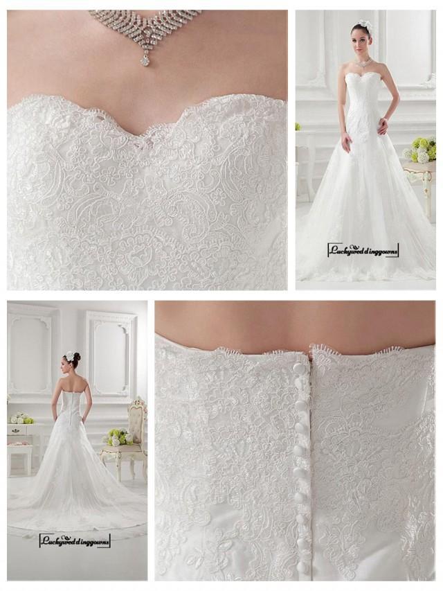 wedding photo - Alluring Satin&Tulle A-line Sweetheart Neckline Natural Waistline Wedding Dress
