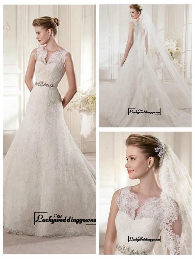 wedding photo - Alluring Satin&Tulle A-line Illusion High Neckline Natural Waistline Wedding Dress