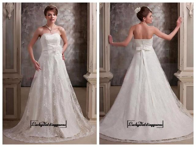 wedding photo - Alluring Satin&Lace A-line Sweetheart Neckline Natural Waistline Wedding Dress