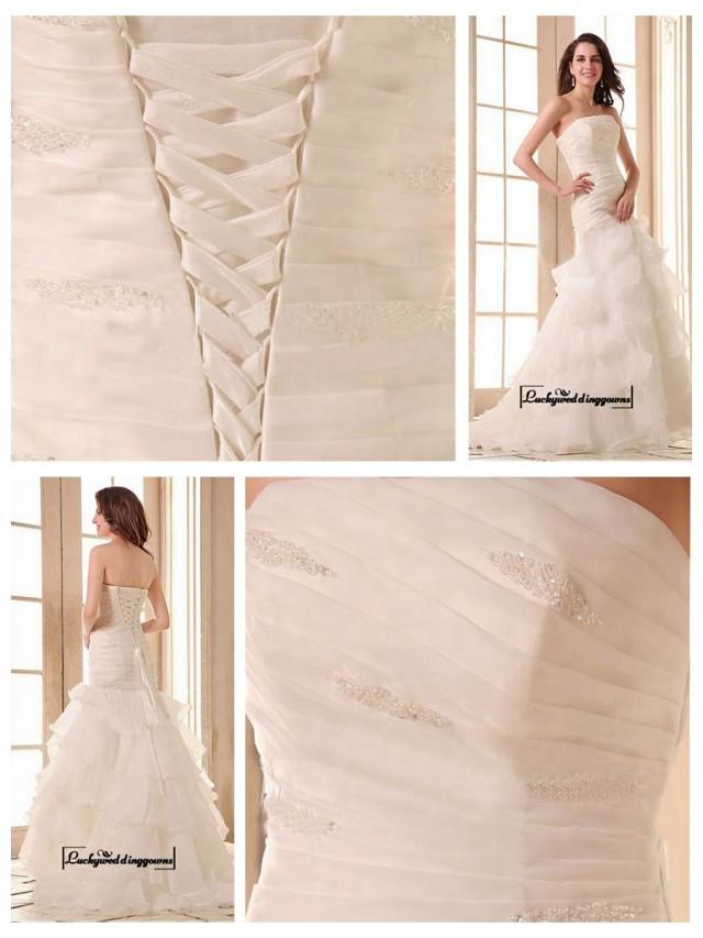 wedding photo - Alluring Satin&Organza Satin A-line Strapless Neckline Dropped Waistline Wedding Dress