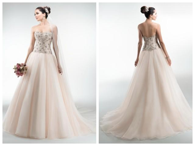 wedding photo - Organza Ball Gown Sweetheart Wedding Dresses with Beaded Bodice