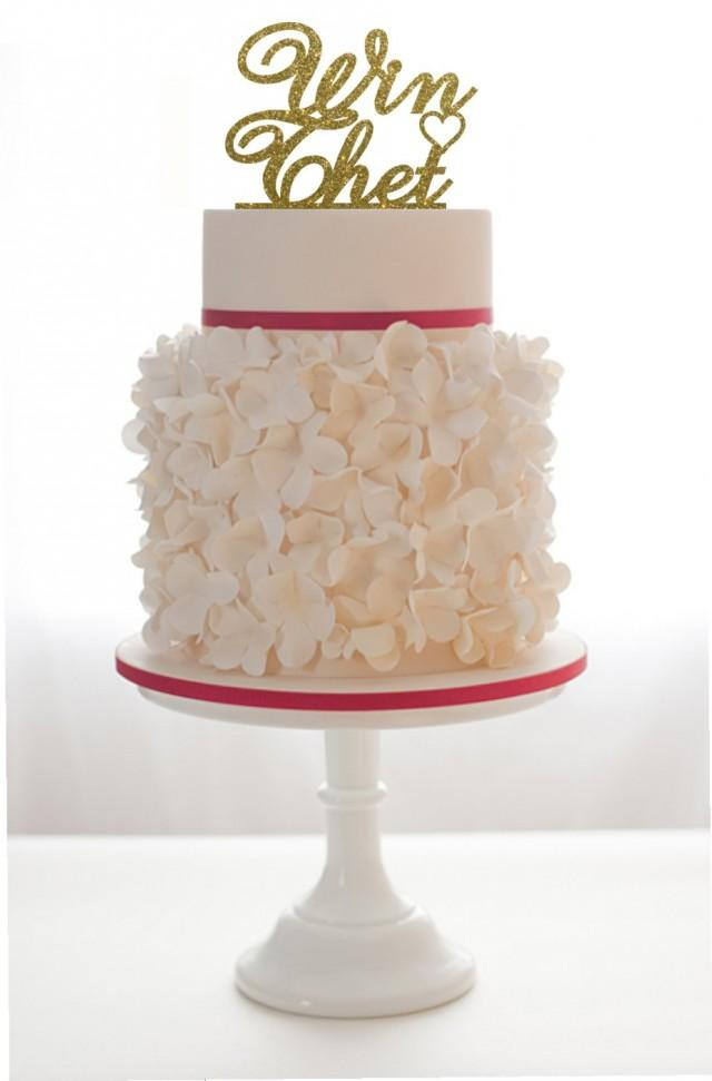 wedding photo - Wedding Cake Topper With 2 Names and a heart Gold Gliiter
