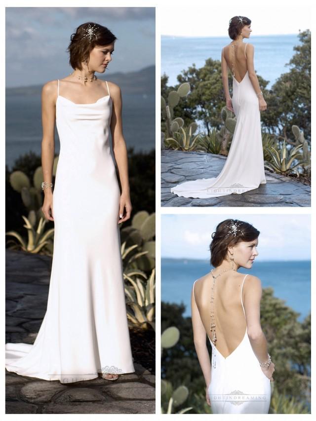 wedding photo - Sexy Formal Spaghetti Straps Square Neckline Deep Backless Wedding Dresses