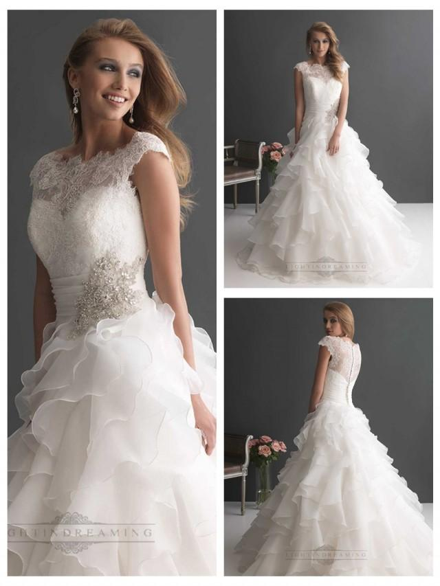 Cap Sleeves Ruffled Layered Ball Gown Wedding Dresses With Ruched Band 2483697