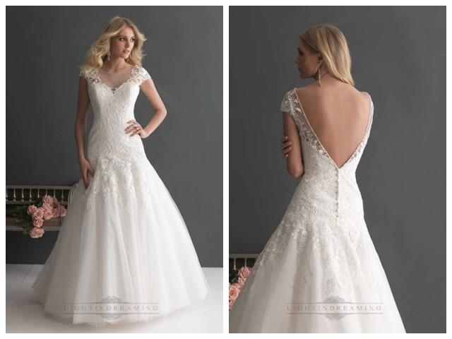wedding photo - Elegant A-line Cap Sleeves Bateau Neckline Wedding Dresses with Deep V-back