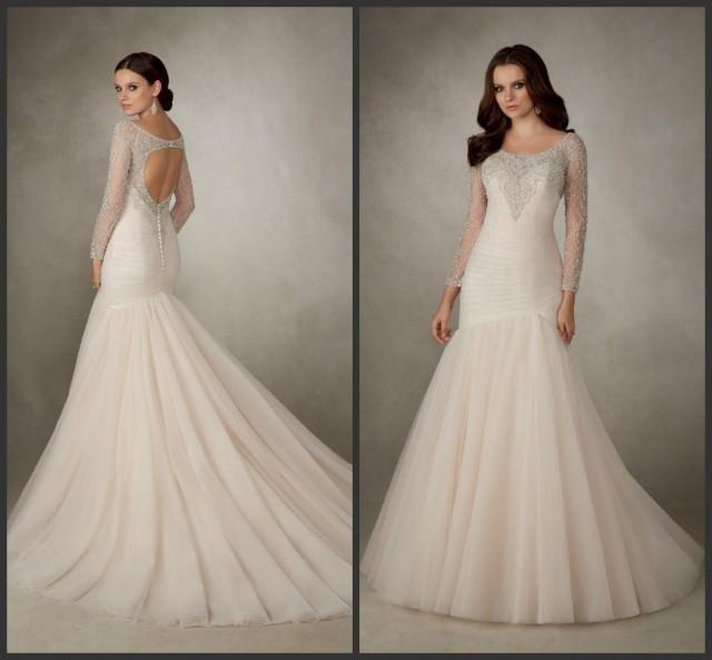 Fishtail Wedding Dresses Suggestions : Wedding dresses fishtail train sequins beaded tulle bridal gowns