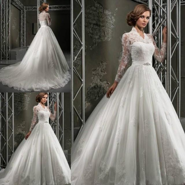Wedding Gowns For Winter: Custom Made Winter Lace Wedding Dresses Plus Size Ball