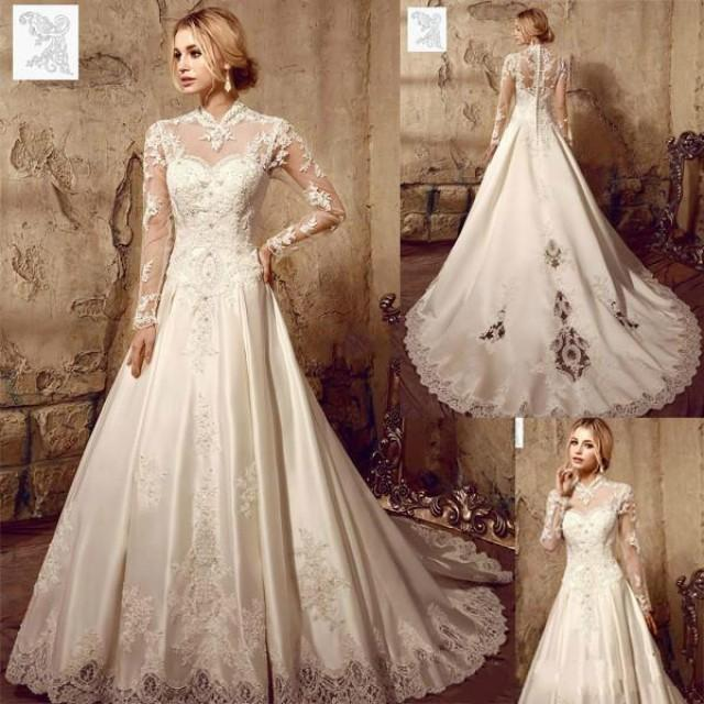 Designer illusion long sleeve wedding dresses 2016 for High collared wedding dress