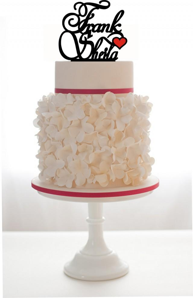 wedding photo - wedding cake topper with 2 names and a heart