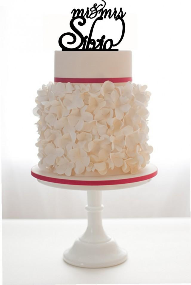wedding photo - Mr and Mrs Cake Topper with Last name.