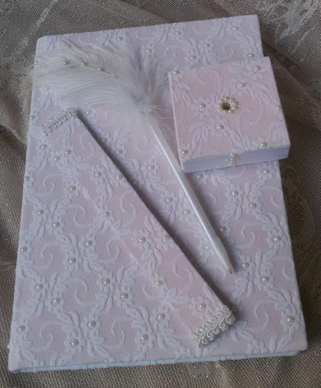 wedding photo - Wedding guest book, Hand made wedding guest book, Of white lace pearl wedding, Bridal book, Guest book and pen set, Guest book and bookmarks