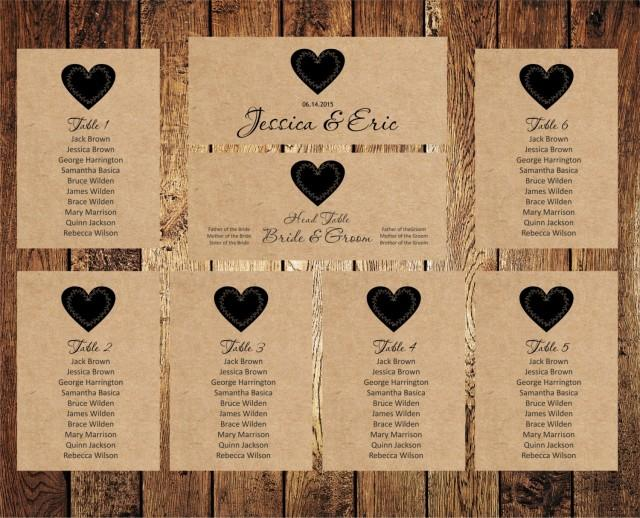 wedding seating chart  editable text  rustic kraft wedding