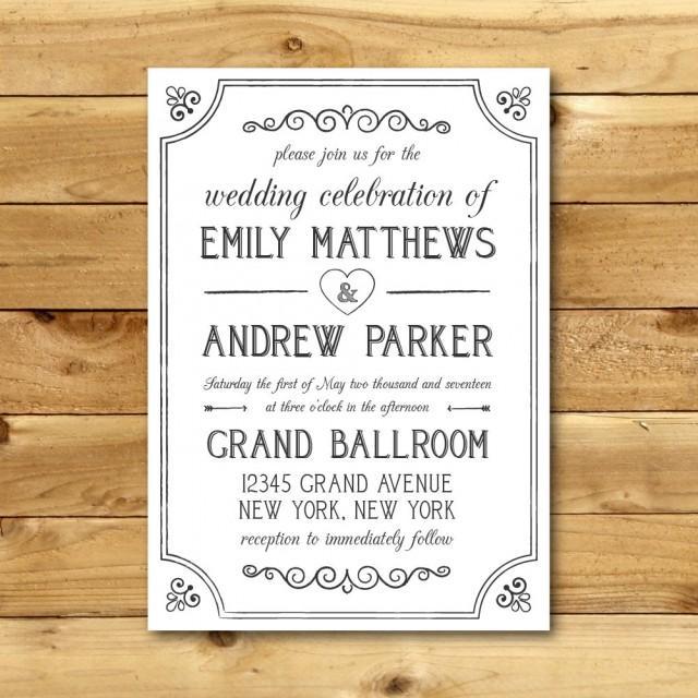 printable vintage style wedding invitation template