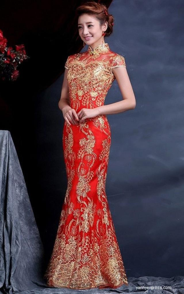 Wedding Qipao Cheongsam Bridal Kwa Qun Couture Evening Dress