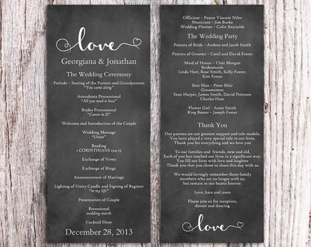 Chalkboard Wedding Program Template Diy Editable Word File For Microsoft