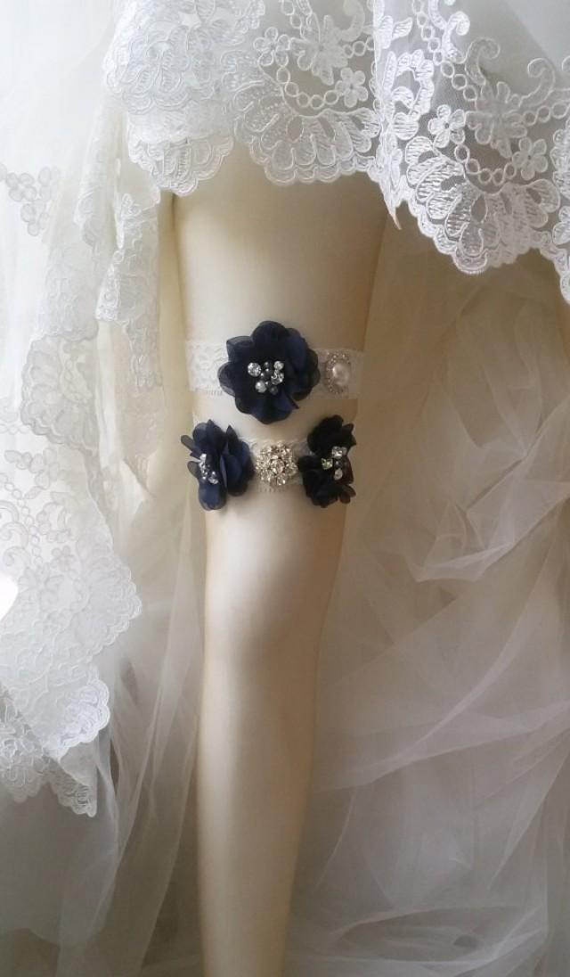 wedding photo - Wedding Garter, Wedding leg garter, Wedding , Bridal accessoary, Dark blue wedding garter, Chiffon Flower Rhinestone Lace Garters