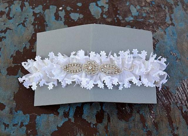 wedding photo - Wedding garter, Wedding Leg Garter ,Bridal Garter,Of White Lace Garter, Bridal Accessory,Wedding Accessory