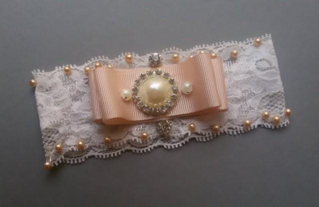 wedding photo - Wedding garter, Wedding leg Garter, Wedding Accessory, Bridal Accessory, Wahite Lace Garter Set, Pearl garter