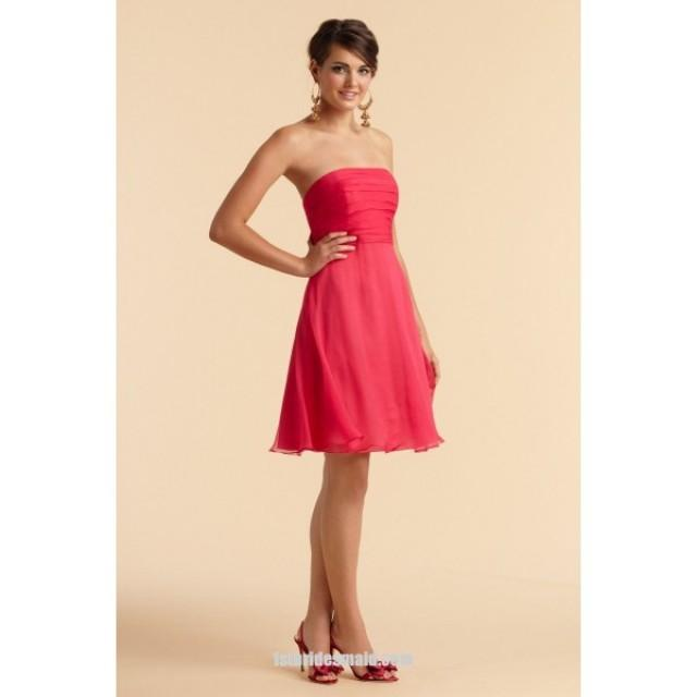 wedding photo - A-line Knee-length Chiffon Strapless Bridesmaid Dress with Pleats