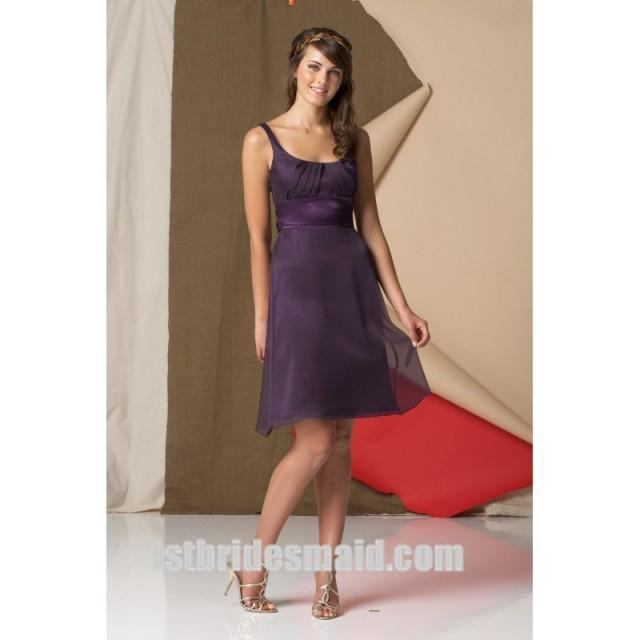 wedding photo - A-line Knee-length Chiffon Bridesmaid Dress with Straps and Waistband(WPD0635)