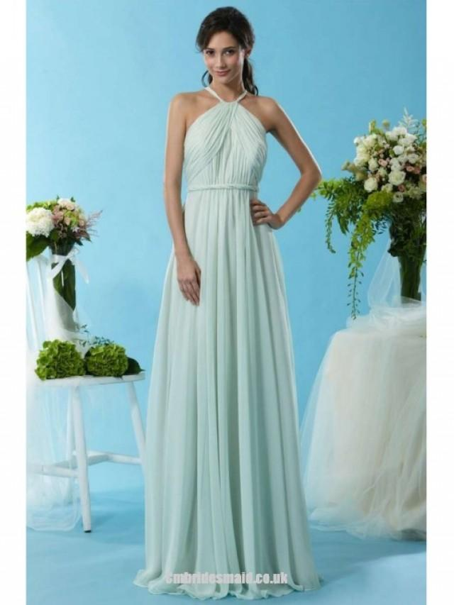 wedding photo - New Design Girls Long Uk Bridesmaid Dresses UK with Halter,A-line,Chiffon Fabric,Floor-length