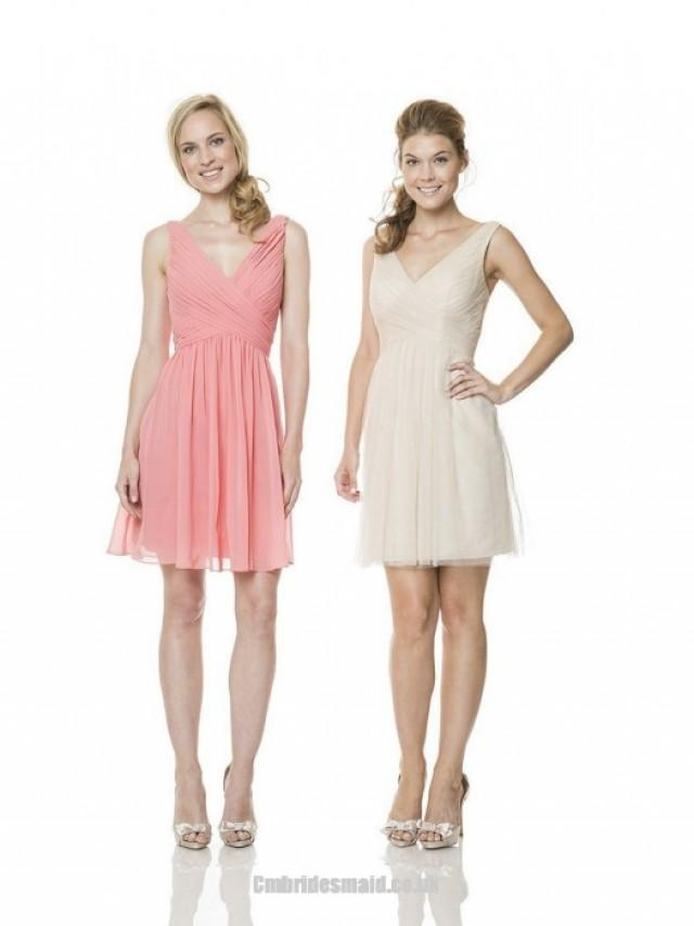 wedding photo - New Design Cute Girls Short Uk Bridesmaid Dresses UK with V-neck,A-line,Chiffon Fabric,Knee-length