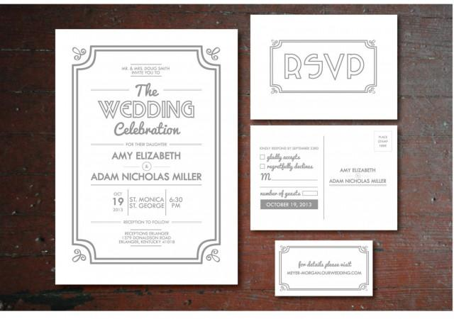 Wedding Invitations With Rsvp Postcards: Printable Vintage Wedding Invitation, RSVP Postcard, Info