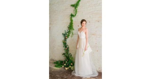 wedding photo - Informal A-line Spaghetti Straps Floor Length Tulle Spring Wedding Dress