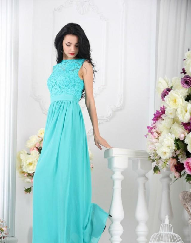 Bridesmaid turquoise dress long turquoise lace dress for Turquoise and white wedding dresses