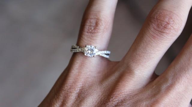 twist engagement ring 1 2 carat center