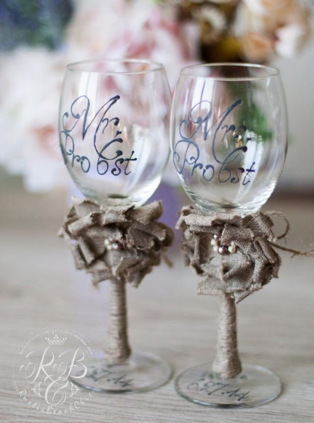 wedding photo - Personalized wedding wine glasses / Rustic Chic Wedding glasses with rope, lace /  wedding party glasses