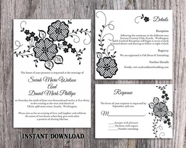 Diy lace wedding invitation template set editable word for Diy rustic chic wedding invitations free printable template ahandcraftedwedding