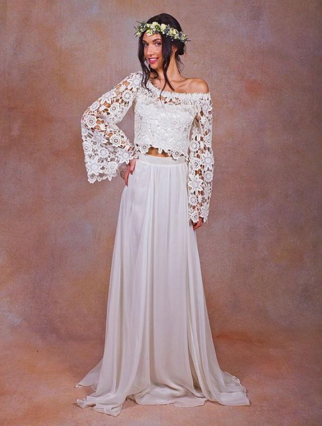 Alana 2 piece lace silk chiffon bohemian wedding dress for Hippie style wedding dresses