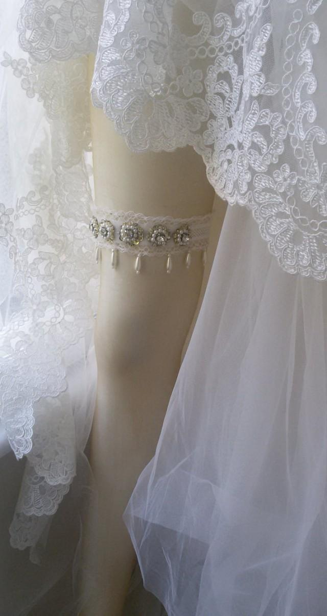 wedding photo - Wedding garter ,Wedding leg garter, Wedding Leg Belt, Rustic Wedding Garter, Bridal Garter , Of white Lace, Lace Garters, ,Wedding
