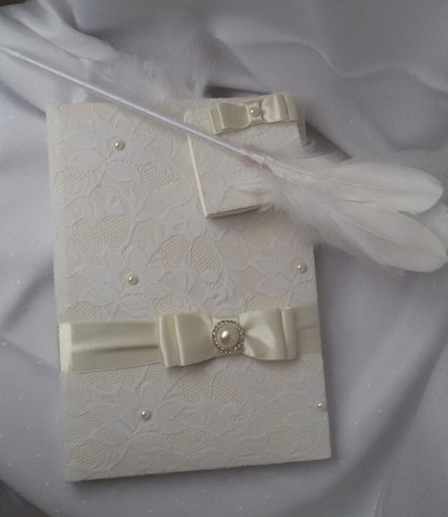 wedding photo - Wedding guest book, Hand made wedding guest book, İvory lace pearl wedding, Bridal book, Guest book and pen set, Guest book and bookmarks