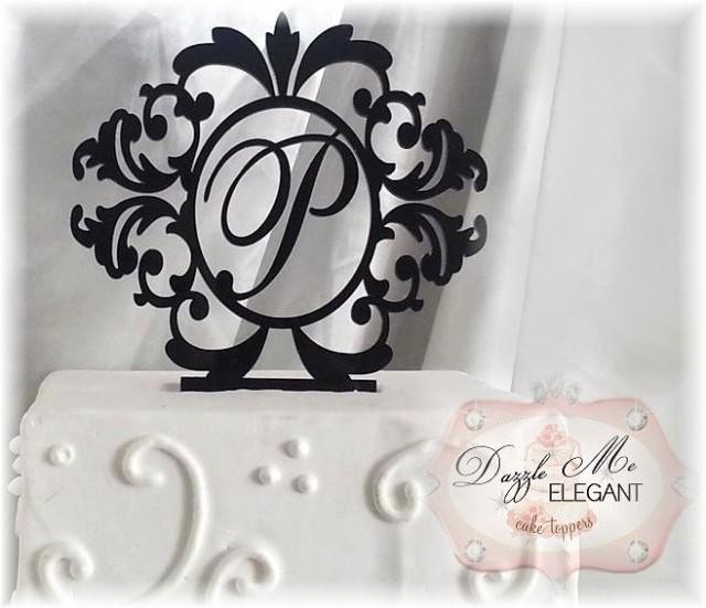 Wedding Cake Toppers Letters Black : Damask Cake Topper - Wedding Cake Topper - Personalized ...