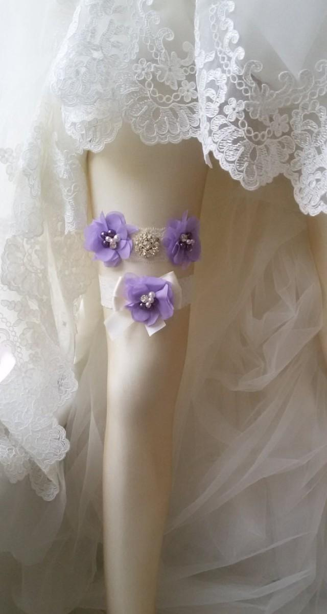 wedding photo - Wedding garter, Garters, Wedding accessoaries, Bridal accessoary, Lilac wedding garter, Chiffon Flower Rhinestone Lace Garters