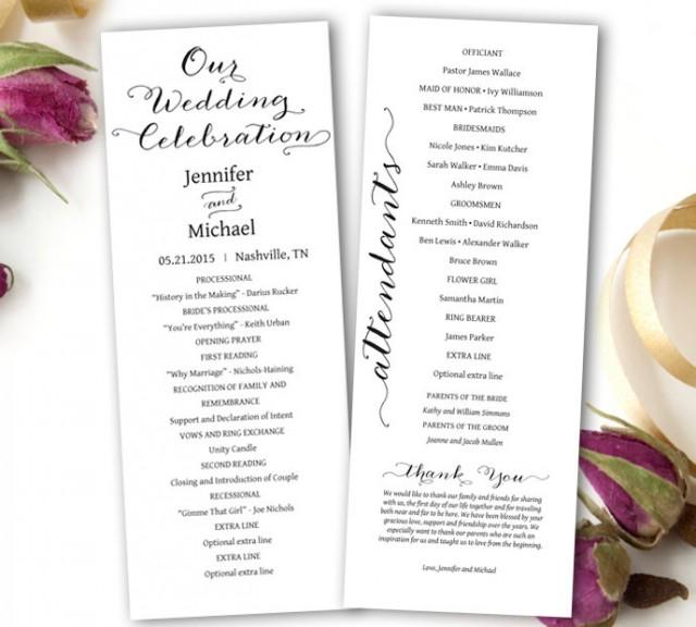 Wedding program printable wedding program template tea for Free printable wedding program templates word