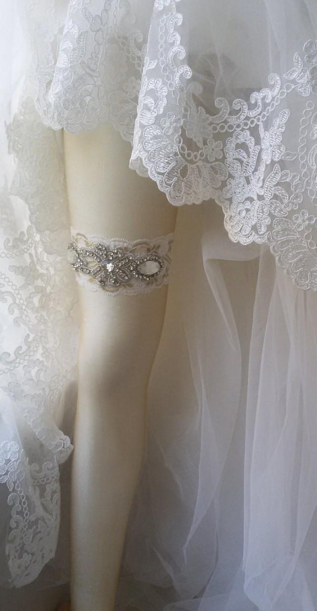 wedding photo - Wedding Garter , Ivory Lace Garter , Bridal Leg Garter, Wedding Accessory, Bridal Accessory, Rhinestone Crystal Bridal Garter