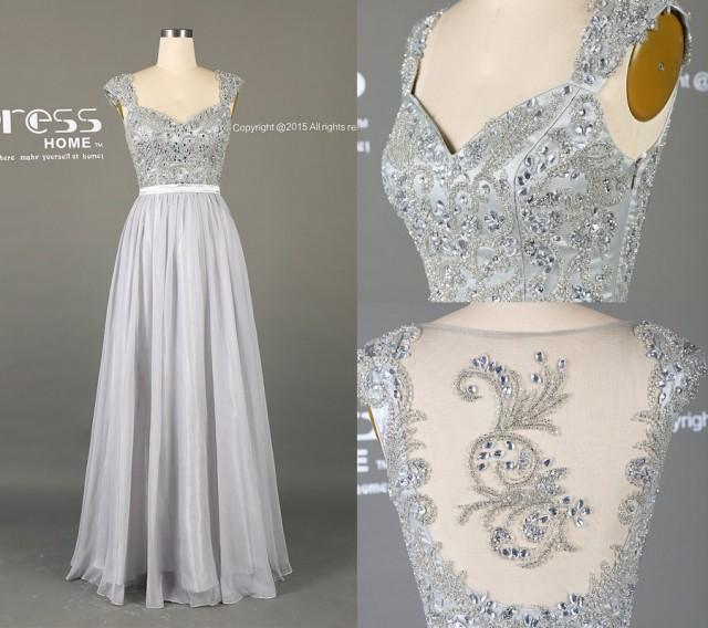 2016 silver grey long lace prom dress a line chiffon prom for Gray dresses to wear to a wedding