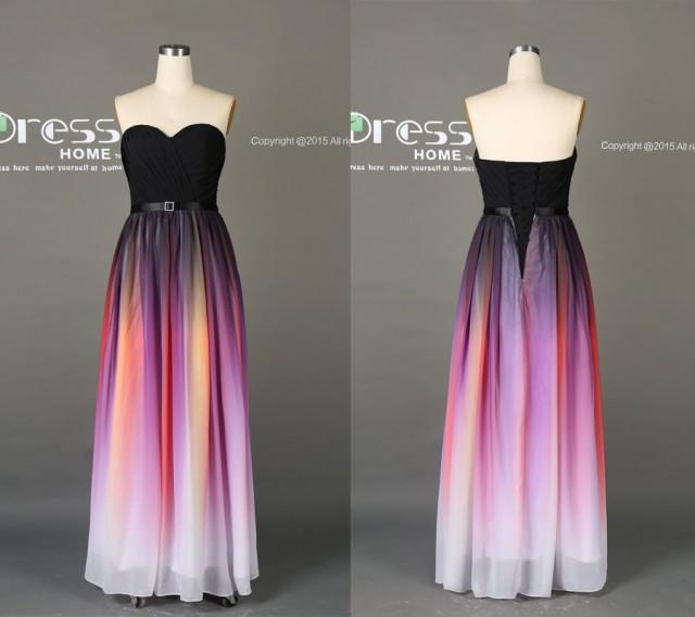 Black ombre chiffon a line prom dress sweetheart ombre for Diy party dress