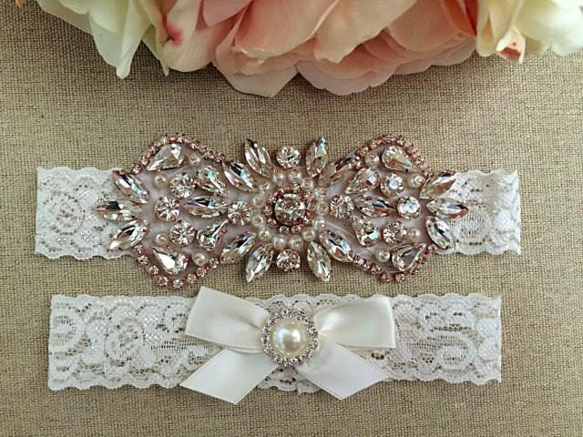Rose Gold Wedding Garter Set Bridal Garter Rhinestone Garter Rose Gold Pearl And Rhinestone