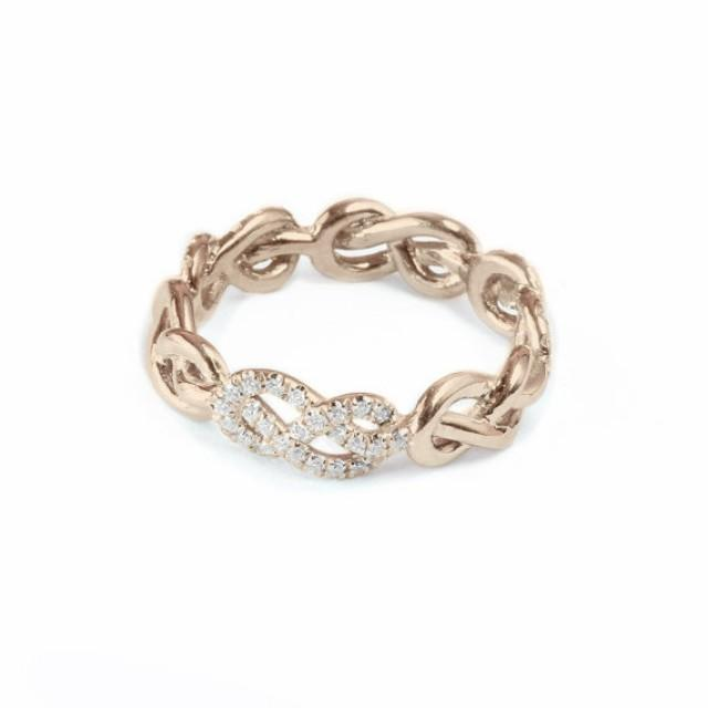 rose gold wedding band infinity knot ring diamond