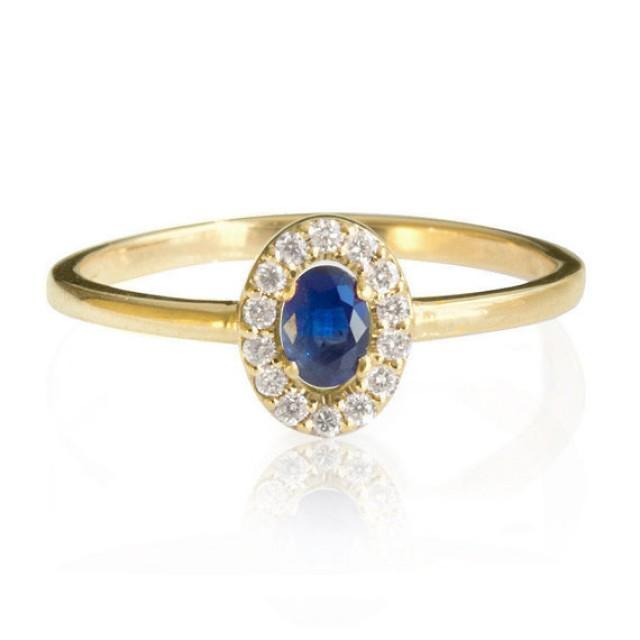 Blue Sapphire Engagement Ring 14K Rose Gold Ring Halo Ring Unique Engageme