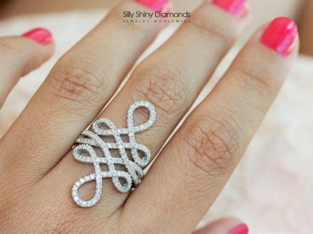 wedding photo - The Original Infinity Knot Ring, 0.85 CT Diamond Ring, 14K White Gold Ring, Unique Rings, Gold Rings for Women, Infinity Ring